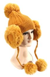 36 Units of Warm Furry Covered Hat - Winter Beanie Hats