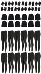 36 Units of Yacht & Smith Womens Fleece Winter Sets Hat, Gloves And Thermal Fleece Lined Leggings - Winter Sets Scarves , Hats & Gloves