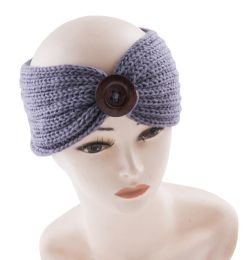 36 Units of Warm Knitted Headband with Button - Headbands