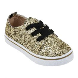 12 Units of Girl's Sneakers in Gold Glitter - Girls Sneakers