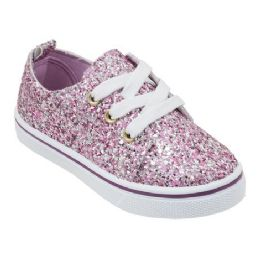 12 Units of Girl's Sneakers in Rose Gold Glitter - Girls Sneakers