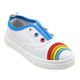 12 Units of Girl's Canvas Sneakers in Rainbow - Girls Sneakers