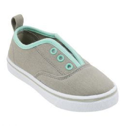 12 Units of Girl's Canvas Sneakers in Gray & Mint - Girls Sneakers