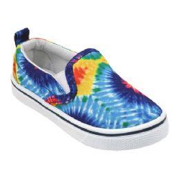 12 Units of Girl's Canvas Sneakers in Tie Dye - Girls Sneakers