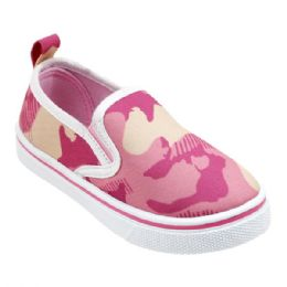 12 Units of Girl's Canvas Sneakers in Pink Camo - Girls Sneakers