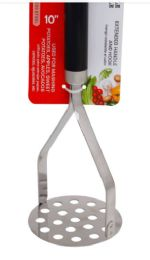 24 Units of Stainless Steel Potato Masher 10 Inch - Kitchen Gadgets & Tools