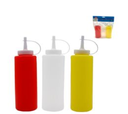 24 Units of 3 Piece Plastic Mustard And Ketchup Bottles 7.5 Inch - Kitchen Gadgets & Tools