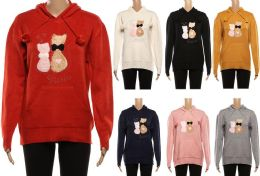24 Units of Women's Long Sleeve Soft Warm Hoodie with Kitten Design - Womens Sweaters & Cardigan