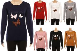 24 Units of Women's Long Sleeve Soft Sweaters with Butterfly Design - Womens Sweaters & Cardigan