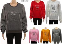 24 Units of Women's Long Sleeve Soft Sweaters with Paris is Love Design - Womens Sweaters & Cardigan