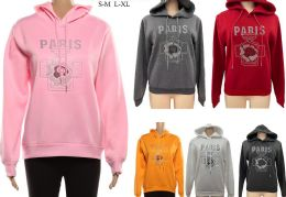 24 Units of Women's Long Sleeve Soft Warm Hoodie with Paris and Perfume Bottle Design - Womens Sweaters & Cardigan
