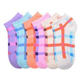 432 Units of MAMIA SPANDEX SOCKS (PLAID5) 6-8 - Girls Ankle Sock