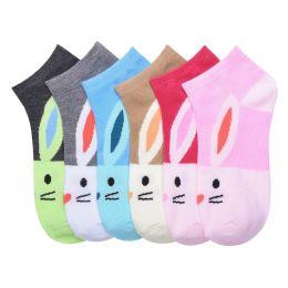 432 Units of MAMIA SPANDEX SOCKS (RABBIT) 4-6 - Girls Ankle Sock