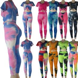 24 Units of Dazzle High Waist Leggings Set with assorted tie dye patterns - Womens Leggings