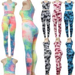 24 Units of Excite High Waist Capri Leggings Set with tie dye patterns - Womens Leggings