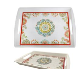 24 Units of 17 Inch Handled Tray - Plastic Bowls and Plates
