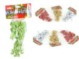 144 Wholesale Xms Bow W/Glitter 4asst