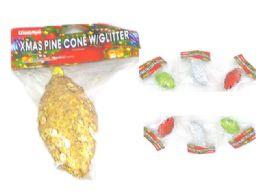 144 Wholesale Xms Pine Cone W/Glitter 4asst