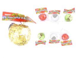 144 Wholesale Xms Apple W/Glitter 4asst