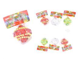 144 Wholesale Xms 8cm Ball W/Glitter 4asst