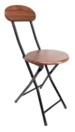 6 Units of Wooden Folding Stool With Back-Cherry 18 Inch - Home Accessories