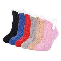 60 Units of MOPAS SOFT COZY DUO LAYER SHORTIE CREW SOCKS 9 -11 - Womens Fuzzy Socks
