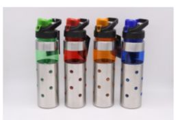 24 Units of Stainless Steel Water Bottle With Hook In Assorted Colors - Drinking Water Bottle