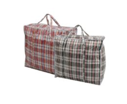 36 Units of Zipper Plastic Bag With Stripe 19x17x6 - Tote Bags & Slings