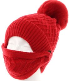 72 Units of Womans Knit Winter Pom Pom Hat Plush Hat with Face Covering - Winter Hats