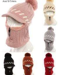 72 Units of Womans Knit Winter Pom Pom Hat Plush Hat with Zipper - Winter Hats