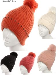 72 Units of Womans Knit Winter Pom Pom Hat with Stones - Winter Hats