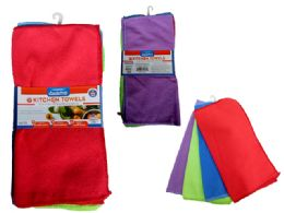 72 Units of Cleaning Cloth 4pc Microfiber 4clr - Cleaning Supplies