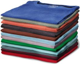 12 Units of Mens Cotton Crew Neck Short Sleeve T Shirt, Assorted Colors, Size Large - Mens T-Shirts