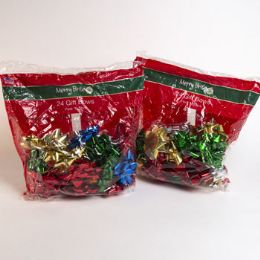 36 Units of Christmas Gift Bows Asst 24ct - Christmas Gift Bags and Boxes