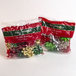 60 Units of Christmas Gift Bows Asst 15ct - Christmas Gift Bags and Boxes