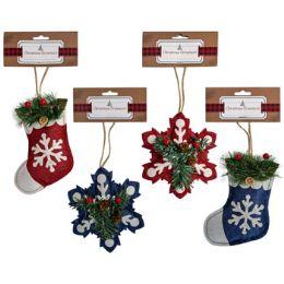 36 Units of Ornament Burlap Stuffed 4ast - Christmas Ornament