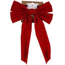 36 Wholesale Bow Velvet Glittered Red