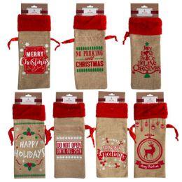 36 Units of Burlap Gift Bag Christmas - Gift Bags Assorted