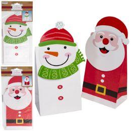 36 Wholesale Treat Sack 4pk Santa/snowman