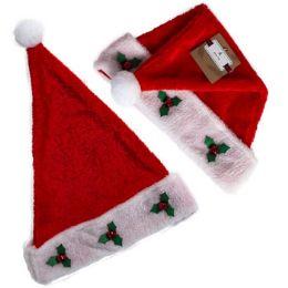 24 Wholesale Santa Hat Red Plush W/holly