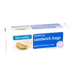 12 Wholesale Sandwich Bags 120ct Fold Lock