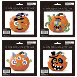 24 Units of Pumpkin Decorating Kit 4ast - Halloween & Thanksgiving