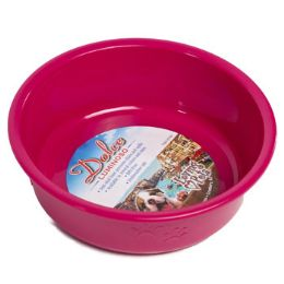 48 Units of Pet Bowl Small Pink W/paw Design - Pet Supplies