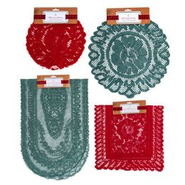 48 Wholesale Lace Red & Green Doily 1/2/3pk