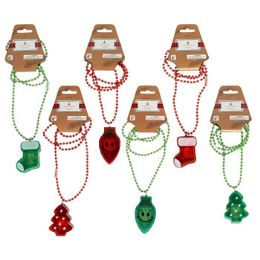 96 Wholesale Necklace Christmas Led 3 Shapes