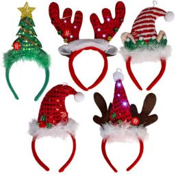 30 Wholesale Headband Christmas Novelty Light