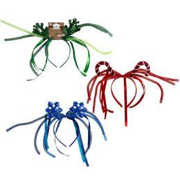 24 Wholesale Headband Christmas 3ast W/mesh