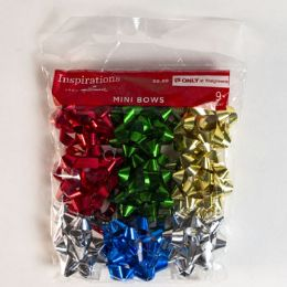 60 Wholesale Christmas Mini Bows Asst 9ct