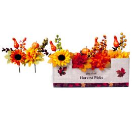 36 Units of Harvest Floral Pick 9in 6ast - Halloween & Thanksgiving