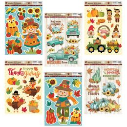 48 Units of Window Cling Harvest 6asst - Hanging Decorations & Cut Out